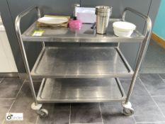 Tubular framed stainless steel 3-shelf Trolley (located in Restaurant)