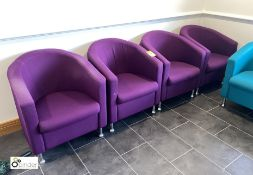 4 upholstered Tub Chairs, purple (located in Restaurant)
