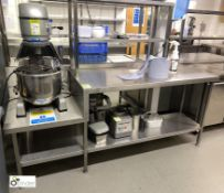 Stainless steel Preparation Table, 2000mm x 650mm x 880mm, with double shelf unit and lowered