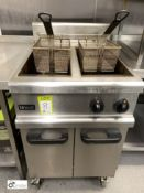 Lincat mobile stainless steel twin basket gas fired Deep Fat Fryer (located in Kitchen)