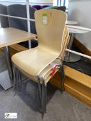 4 beech effect stackable Refectory Chairs (located in Restaurant)