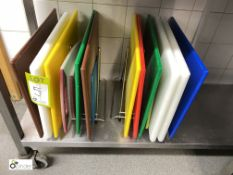 15 various nylon Chopping Boards, with 2 stands (located in Kitchen)
