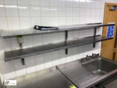 2 stainless steel wall mounted Shelves, 2000mm x 300mm (located in Kitchen)