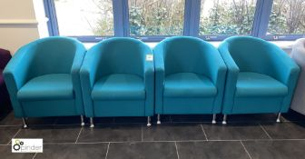 4 upholstered Tub Chairs, turquoise (located in Restaurant)