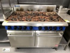 Blue Seal stainless steel gas fired 8-burner double Oven, 1200mm wide (located in Kitchen)