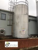 Stainless steel heated and insulated Tank, 2900mm diameter x 5070mm tall (location: Croxton) (please