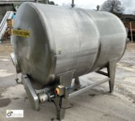 Stainless steel Tank, 1500mm diameter x 2100mm length, with powered agitator (location: Croxton) (