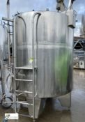 Stainless steel vertical Tank, approx. 1600mm diameter x 1700mm tall, 5600mm circumference, with