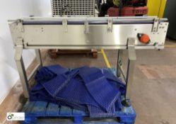 Stainless steel powered Conveyor, 254mm belt width, with quantity plastic conveyor belting (please