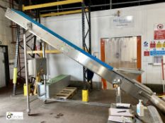 Stainless steel mobile Inclined Conveyor, 250mm belt width, 3000mm full height (please note there is