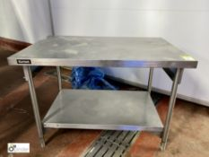 Bartlett stainless steel Preparation Table, 1200mm x 800mm, with under shelf (please note there is a
