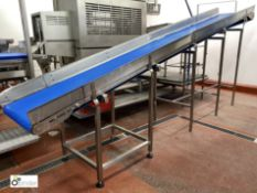 Powered inclined Belt Conveyor, 650mm belt width, 490mm belt length, min height 800mm, max height