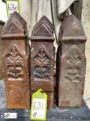 3 Victorian salt glazed terracotta Garden Edging Posts, 16in high
