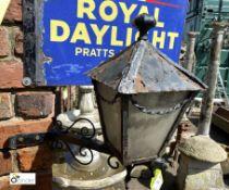 Wrought iron folk art Lantern on bracket, 20in high