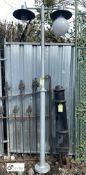 Metal galvanised Lamp Post/Street Light with twin light fittings, 96in high