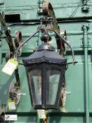 Hexagonal copper/brass Pub Lantern with hanging bracket, 24in high
