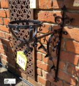 Victorian wrought iron blacksmith made gothic Bracket, 26in high x 16in wide