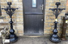 Pair of original highly decorative Victorian cast iron Lamp Posts, 67in high