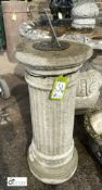 "Reconstituted stone fluted Sundial Column with a bronze sundial plate, maker's mark. ""E J Newbald,"