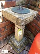 Reconstituted stone Sundial Plinth with bronze sundial plate, 25in high x 15in diameter
