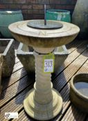 Reconstituted stone Sundial Base with barley twist column stamped with North, East, South, West with