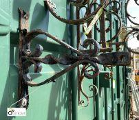 Original Victorian blacksmith made Lantern Bracket, 12in high x 12in long