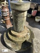 5- tier Yorkshire stone Sundial Balustrade / Plinth, 50in high x 42in diameter