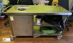 Stainless steel mobile Food Clear Up Station, 1400mm x 650mm x 850mm (in Kitchen) (LOCATION: