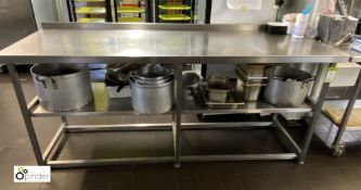 Stainless steel Preparation Table, 2100mm x 700mm x 890mm high, with undershelf (in Kitchen) (