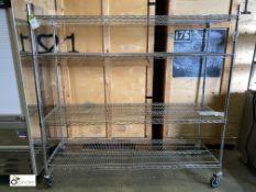 Mobile 4-shelf adjustable Rack, 1820mm x 600mm x 1780mm high (LOCATION: Stanningley, Leeds)
