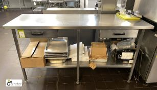 Stainless steel Preparation Table, 1750mm x 610mm x 890mm with undershelf and 2 utensil drawers (