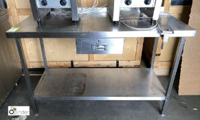 Stainless steel Preparation Table, 1400mm x 650mm x 890mm high, with undershelf, utensil drawer