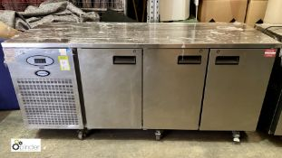 Foster PRO 1/3H-A stainless steel mobile 3-door Refrigerated Counter, 1860mm x 700mm x 860mm high,