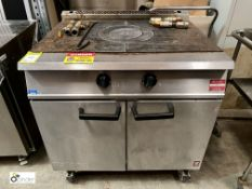 Falcon mobile stainless steel gas fired bullseye top double door Oven, 900mm x 770mm x 890mm high (
