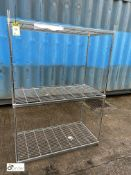Stainless steel adjustable 3-shelf Rack, 1200mm x 600mm x 1710mm (LOCATION: Stanningley, Leeds)
