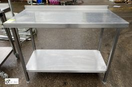 Stainless steel Preparation Table, 1200mm x 600mm x 890mm, with undershelf and rear lip (LOCATION: