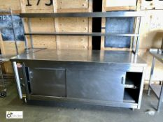 Stainless steel double door heated Servery Cabinet, 2100mm x 750mm x 880mm, 240volts, with pass