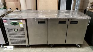 Foster EPRO 1/3H stainless steel mobile 3-door Refrigerated Counter, 1860mm x 700mm x 860mm high,