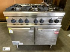 Electrolux stainless steel 6-ring double door Oven, gas fired, 900mm x 700mm x 900mm high (LOCATION: