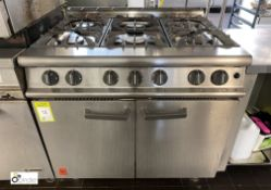 Falcon stainless steel 6-ring double Oven, gas fired, 900mm wide x 830mm deep x 850mm high (in