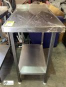 Stainless steel Preparation Side Table, 500mm x 750mm x 910mm, with undershelf and rear lip (
