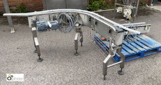 Stainless steel powered 90° Belt Conveyor and Stra