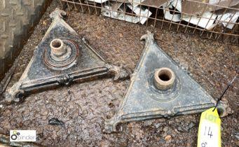 Pair cast iron triangular Feet/Bases, approx. 300mm x 300mm x 300mm (LOCATION: Sussex Street,