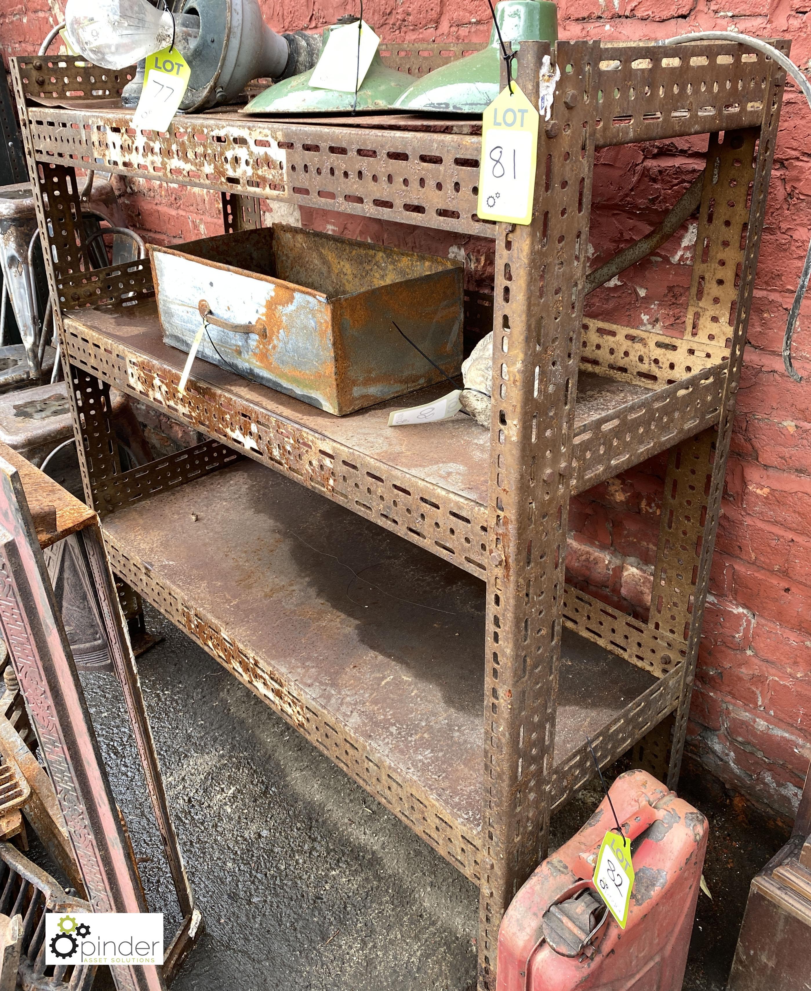 Steel adjustable 3-shelf Rack, 1240mm x 460mm x 1290mm tall (LOCATION: Sussex Street, Sheffield)