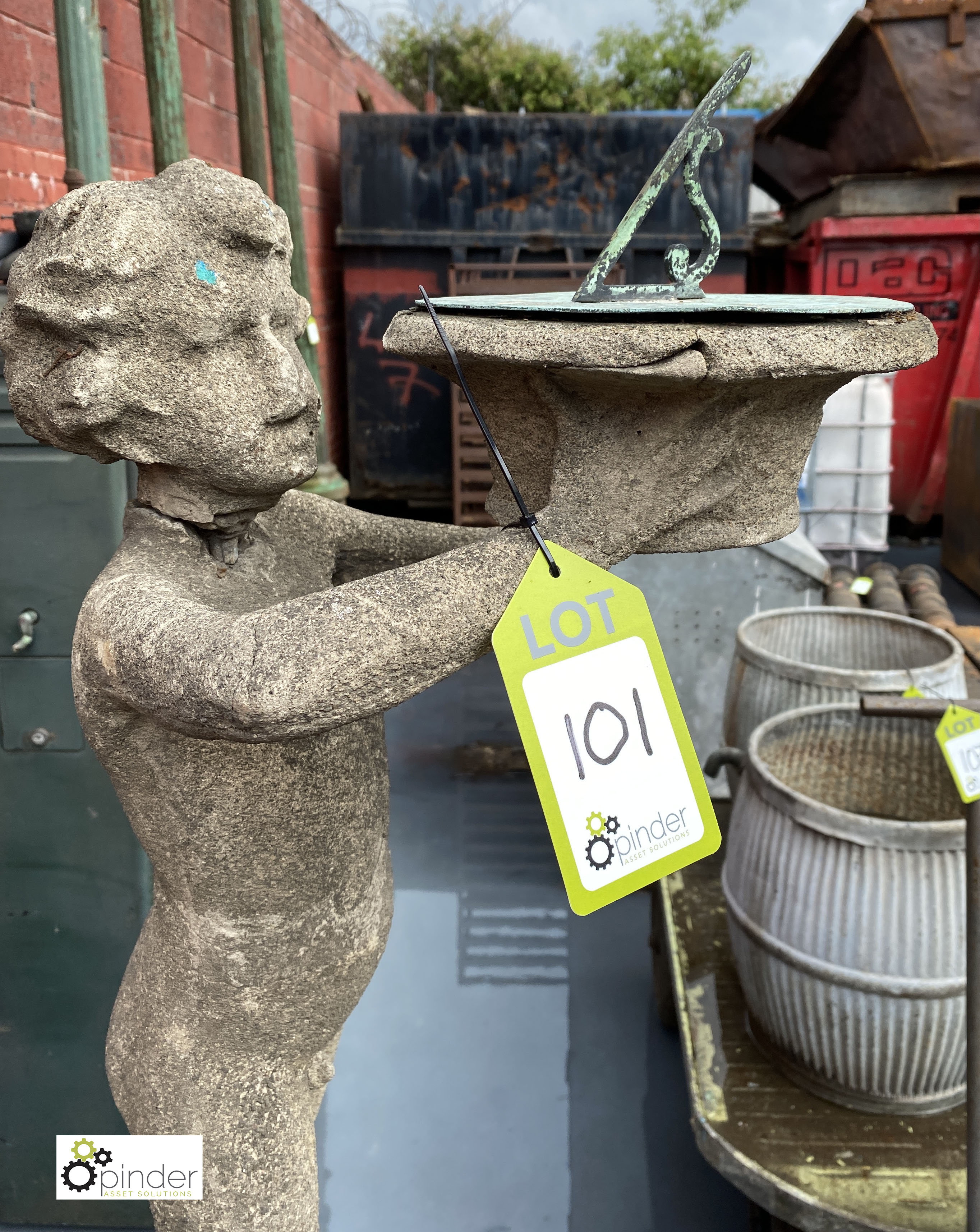 Stone Figure of young boy holding sundial, 890mm tall, on stone base, 540mm tall x 315mm x 315mm, - Image 5 of 12