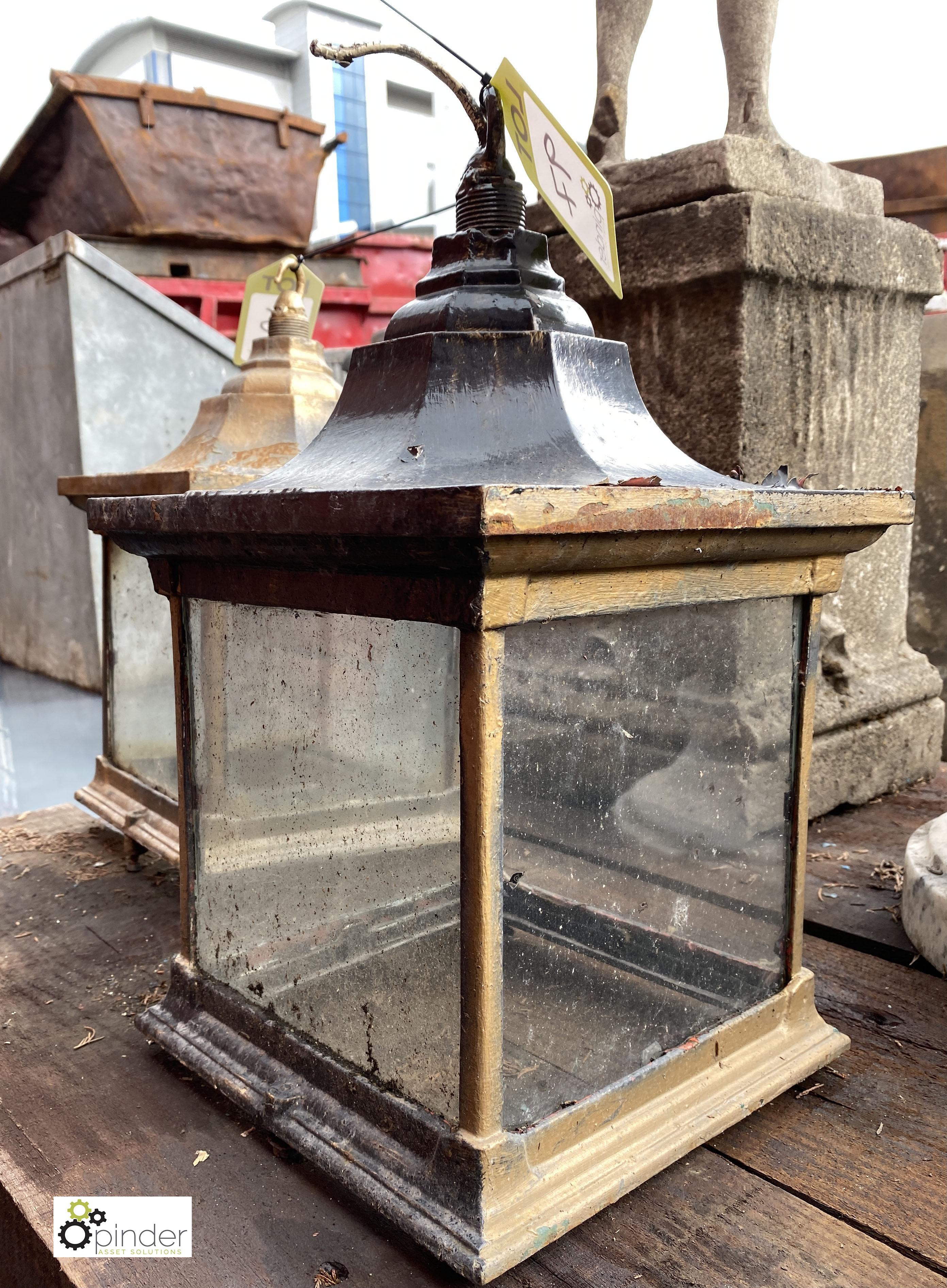 Steel Lantern, fully glazed, 270mm x 270mm x 290mm high, stamped Revo Tipton (LOCATION: Sussex - Image 3 of 4