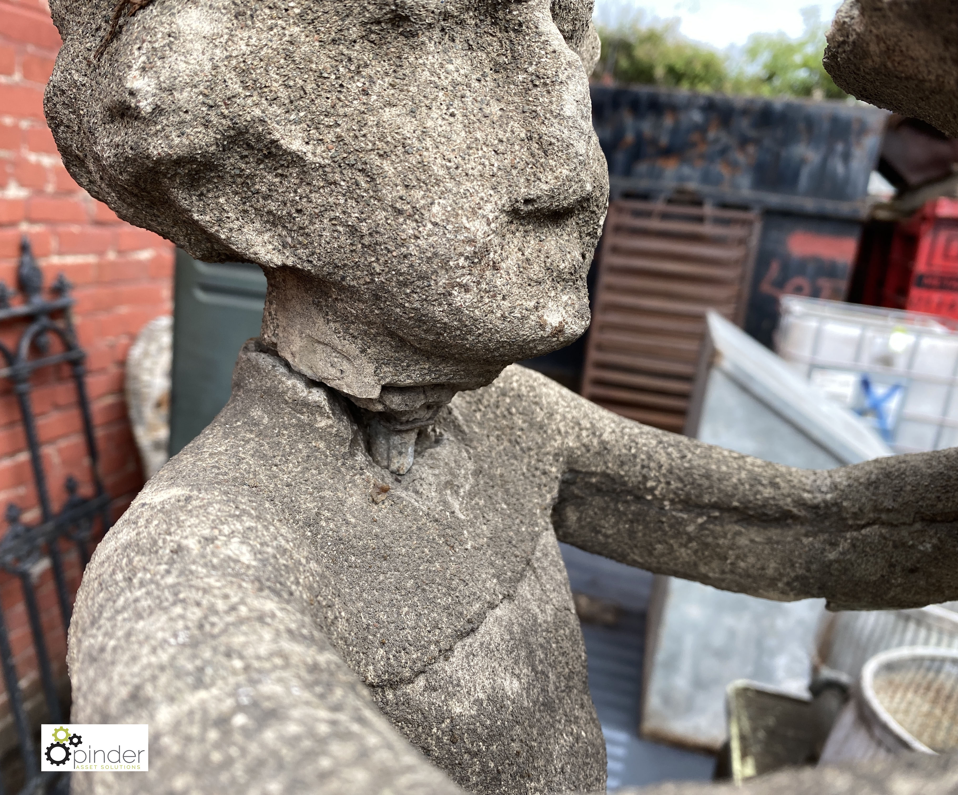 Stone Figure of young boy holding sundial, 890mm tall, on stone base, 540mm tall x 315mm x 315mm, - Image 4 of 12