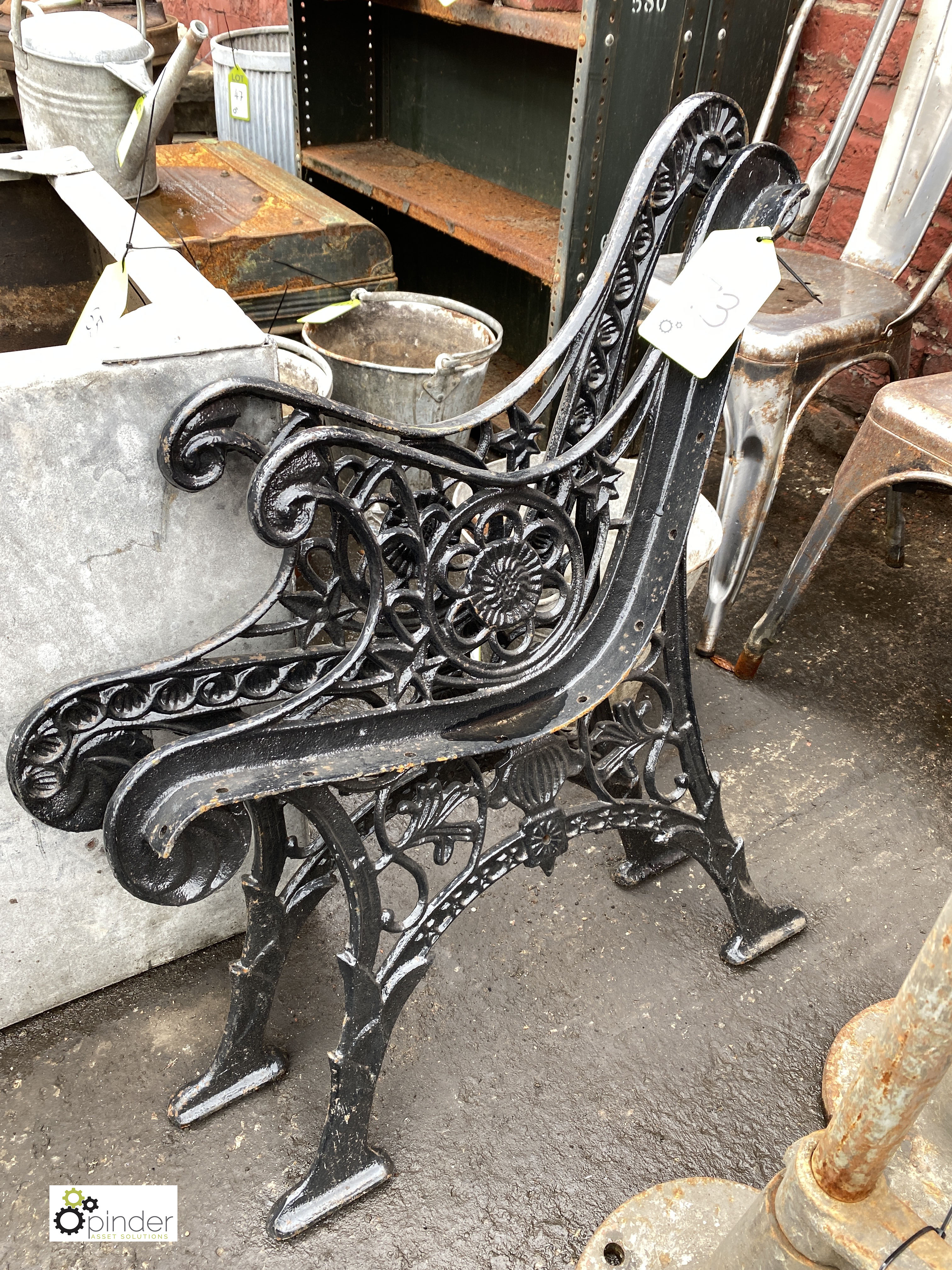 Pair cast iron Bench Ends (LOCATION: Sussex Street, Sheffield) - Image 2 of 3