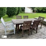 Teak Patio Dining Table, 1905mm x 875mm, with 4 chairs and 2 armchairs (LOCATION: Todwick,