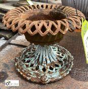Cast iron miniature Urn, 200mm high x 240mm diameter (LOCATION: Sussex Street, Sheffield)